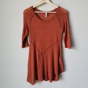 Free People Orange 3/4 Sleeve Blouse Tee Tunic